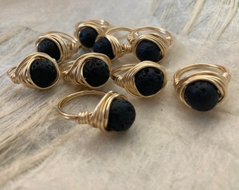 Fun Lava Rock and Wire Aromatherapy Ring