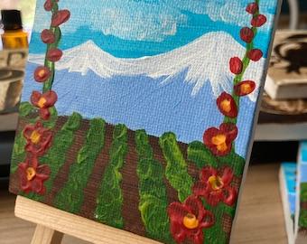Teeny Tiny Miniature Original Painting - Mt Ararat and Massis with hollyhocks