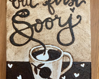 """Original Armenian Coffee Painting - """"But first, Soorj"""" (But first, coffee)"""