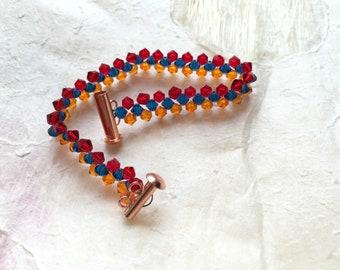 Armenian Flag Bracelet with Swarovski Crystals