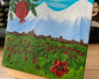Teeny Tiny Miniature Original Painting - Mt Ararat and Massis with poppies and pomegranate