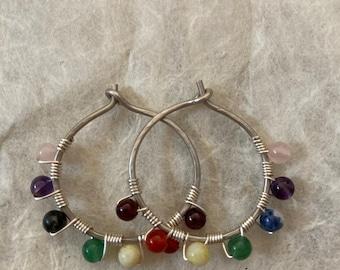 Seven Chakra Sterling Silver Wire Hoop Earrings