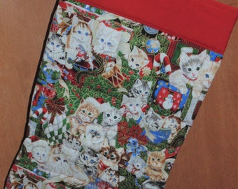Oversized Quilted Christmas Stocking cat Kittens Kitty Holiday Kittens Cute