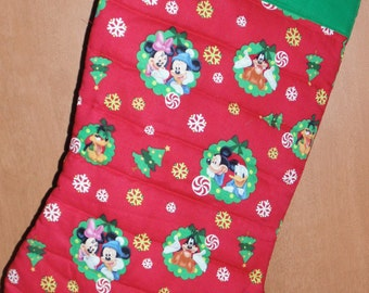 Oversized Quilted Christmas Stocking Pluto Minnie Mickey