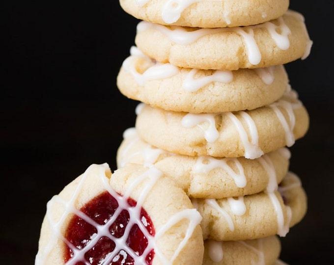 Holiday Thumbprint Jam Cookies/ Christmas/ Party Favor/Raspberry/ Strawberry/Christmas Cookies
