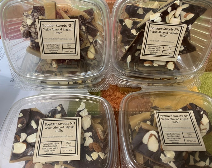 VEGAN / English almond Nut Toffee /  Pecan / A crunchy Toffee / Dark Chocolate/Christmas Candy