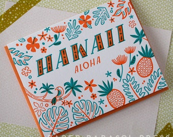 Hawaii Letterpress Greeting Card
