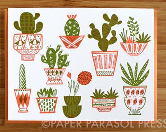 Cacti and Pottery Letterpress Printed Card