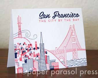 San Francisco City Love Letterpress Printed Card