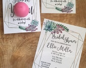 Succulent and gold frame bridal shower invitation and EOS lip balm favor, download, printable, trendy, watercolor, blue, purple, green, gold