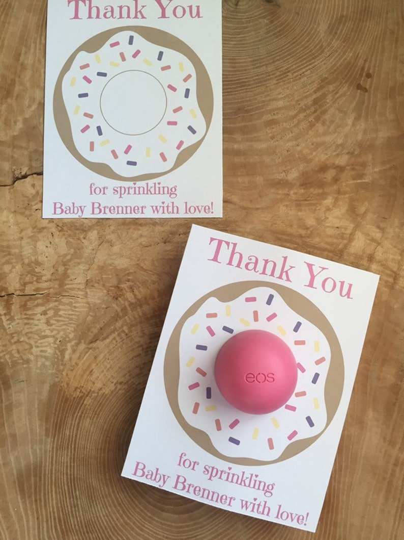 purple orange pink Personalized donut printable cards for EOS lip balm Thank you for sprinkling the baby with love sprinkles yellow