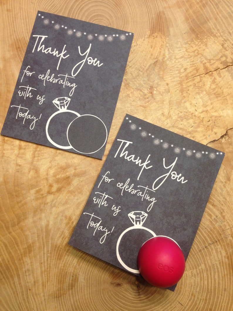 Wedding Rings Bridal Shower Eos Lip Balm Favor Cards Printable Download Thank You Gift Black Ivory Damask String Of Lights Modern