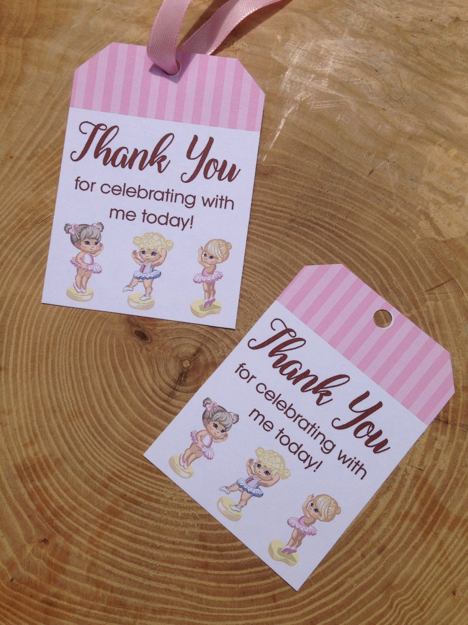 ballerina birthday party favor thank you card printable, ballet, dance shoes, tutus, pink, stripes, thank you for celebrating wi