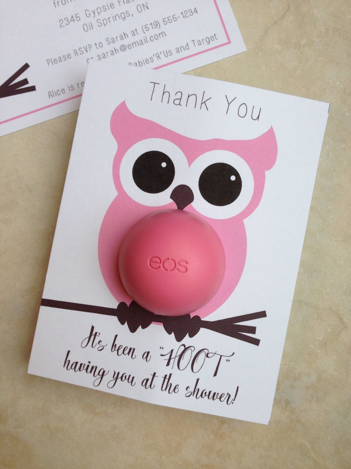 Owl themed baby shower EOS lip balm party favor pink brown | Etsy