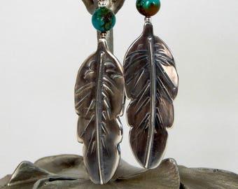 Silver Feather Earrings Natural Gemstones Boho Earrings Long Earrings Feather Jewelry Gift For Her Boho Jewelry Bohemian Jewelry