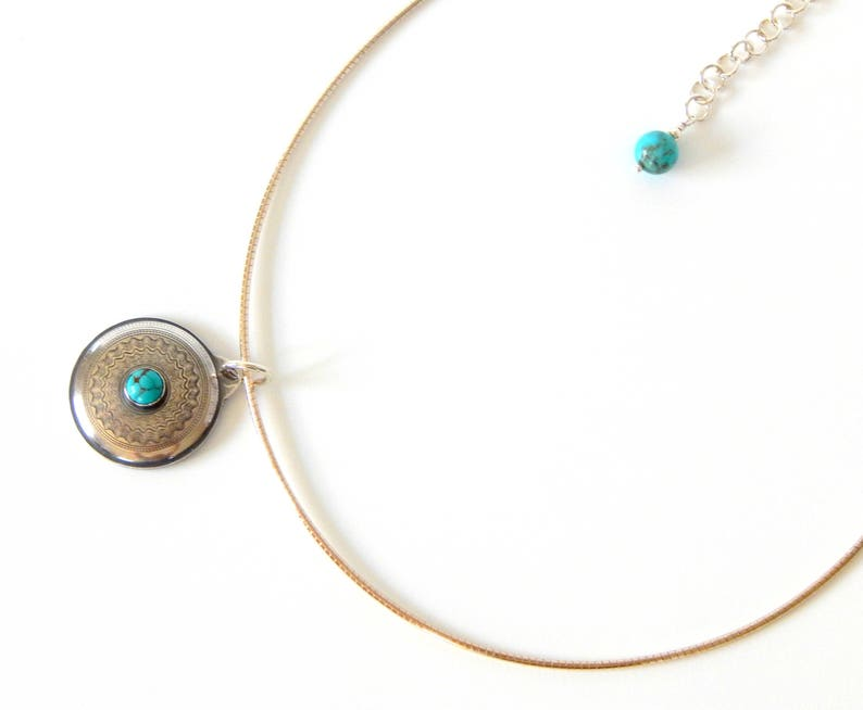Turquoise Necklace Boho Necklace Natural Gemstones Sterling Silver Layering Necklace Turquoise Jewelry Boho Jewelry Gift For Her
