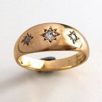 RESERVED. Antique Victorian Star Gypsy Diamond Ring 18K 18CT Yellow Gold Ring Band - Signed and Hallmarked