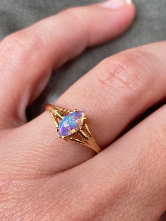 Vintage 14K Opal Solitaire Gold Ring - image 6