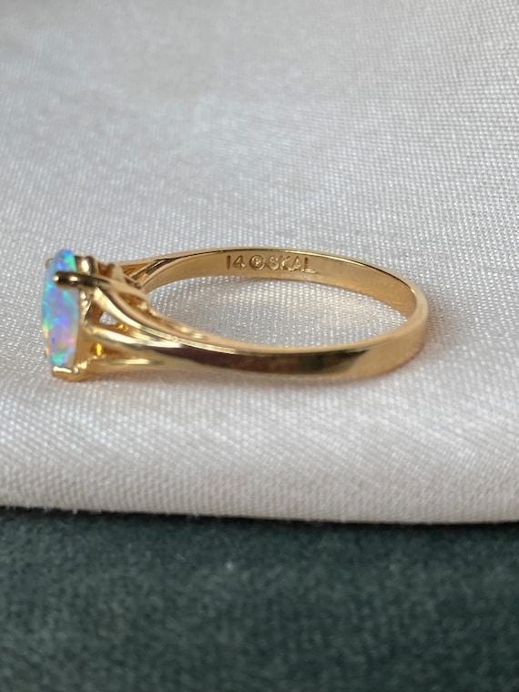Vintage 14K Opal Solitaire Gold Ring - image 3
