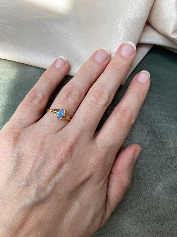 Vintage 14K Opal Solitaire Gold Ring - image 7