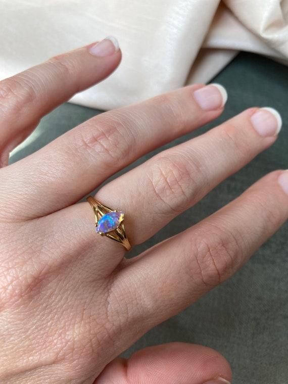 Vintage 14K Opal Solitaire Gold Ring - image 8
