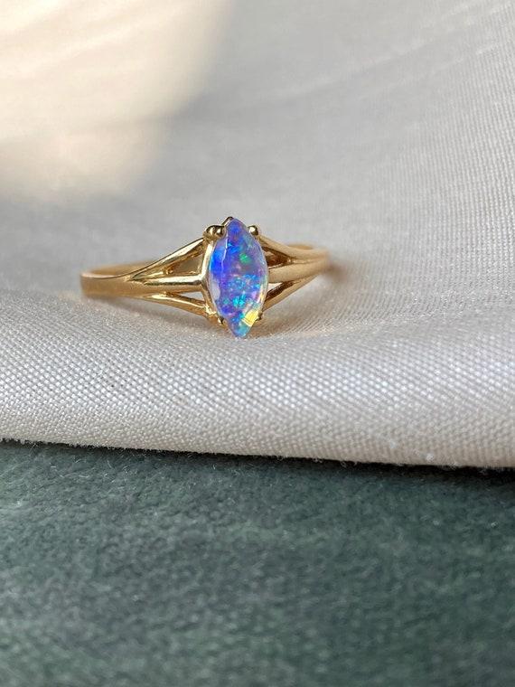 Vintage 14K Opal Solitaire Gold Ring - image 2