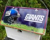 New York Giants Football License Plate Birdhouse White Fully Functional