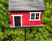 Handmade Primitive Country Cabin Birdhouse.  Red Black Door Hand Painted Chimney Garden