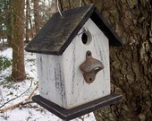 Primitive White and Black Birdhouse Antique Aged Rusty Old Bottle Opener