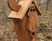 Unique Moose Birdhouse,Primitive Rustic Country Bird House, Garden Birdhouse, Outdoor Birdhouse, Handmade birdhouse.