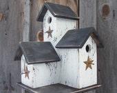 Primitive Country  Condo Birdhouse,  White and Black Three Nesting Boxes, Handmade Birdhouse  Rustic Birdhouse  Garden Decore Bird House.
