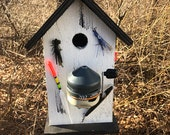 White Birdhouse Fishing Reel Fishing Lures Fisherman Unique Primitive Fully Functional Fun
