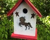 Rusty Horse Birdhouse Rusty Stars Primitive Birdhouse