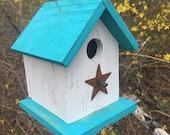Country Rustic Wooden Songbird Birdhouse White Turquoise Chickadee Wren Cute Primitive Rusty Heart Handmade Hanging Birdhouse