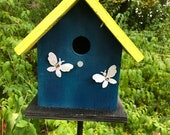 Birdhouse Primitive Dark Blue Butterflies Fully Functional
