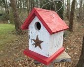 Wooden Rustic Chickadee Wren Songbird White and Red Primitive Birdhouse Metal Star Handmade Hanging Birdhouse