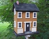 Salt Box Birdhouse Honey Mustard Black Door Wooden Steps Folk Art Primitive White Fence