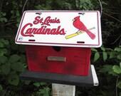 St Louis Cardinals Primitive License Plate Birdhouse Unique Birdhouse  Outdoor Bird House  Wooden Birdhouse Baseball