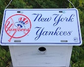 New York Yankees Baseball License Plate Birdhouse Primitive MLB