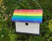 LGBT Flag License Plate Primitive Birdhouse