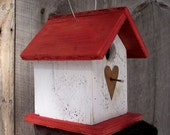 Now om sale 12.00 Primitive Birdhouse White Red Chickadee Wren Cute Songbirds  Metal Rusty Heart hand Bird House Handmade Wooden birdhouse