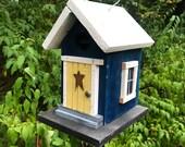Handmade Primitive Blue and White Cozy Country Birdhouse, Functional Garden Art, Outdoor Bird House