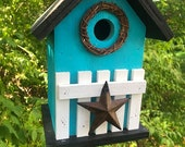 Turquoise Rustic Primitive Birdhouse White Fence  Metal Heart Grapevine Wreath Country Birdhouse Outdoor Bird House,