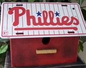 Philadelphia Phillies Baseball License Plate Birdhouse Primitive MLB Fully functional handmade Unique Outdoor Birdhouse