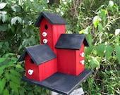 Primitive Country Condo Birdhouse, Wooden Red and Black Three Nesting Boxes Wooden Birdhouse,   Functional Birdhouse Garden Bird House.
