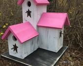 Primitive Country  Condo Birdhouse,  White and Pink Three Nesting Boxes Garden Birdhouse,  Cottage Bird House,   Handmade   Birdhouse.