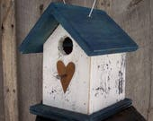 Hanging Wooden White and Blue Birdhouse Wren Chickadee Small Songbirds Metal Heart Handmade Birdhouse