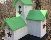Primitive Country Condo Birdhouse White and Neon Green Three Nesting Boxes