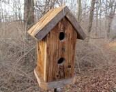 Primitive Birdhouse Rustic Cedar Fully Functional Songbirds