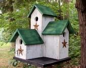 Primitive Country  Condo Birdhouse, Wooden White and Green Three Nesting Boxes Bird House, Rustic Birdhouse Unique Birdhouse Handmade.
